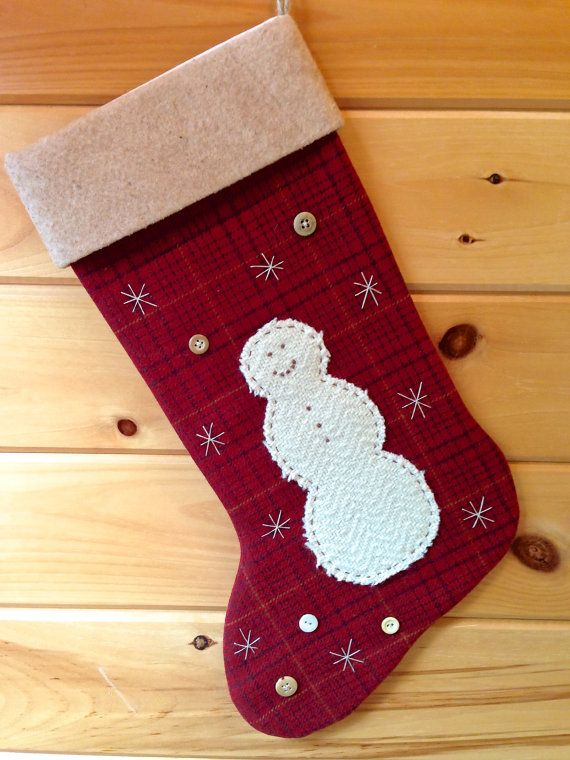 Personalized Christmas Stocking Rustic Cabin Large Snowman Decoration