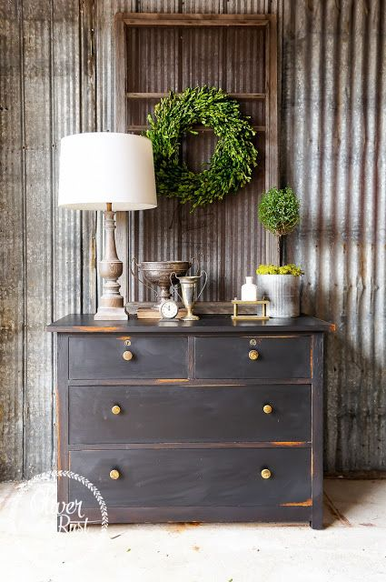 Oliver and Rust || classic black dresser with original brass hardware. finishing materials by general finishes in lamp black milk paint