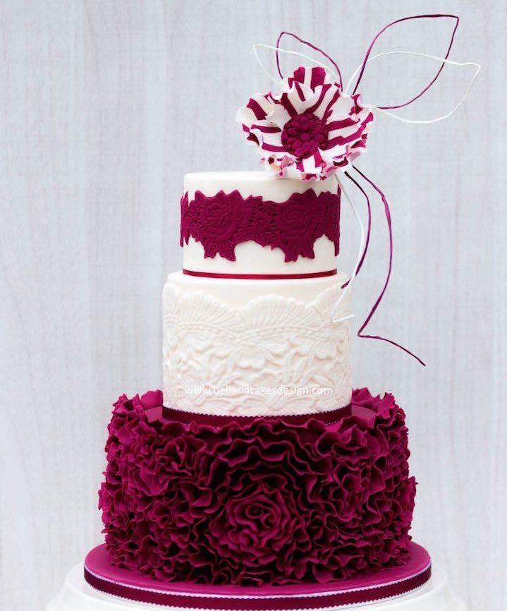 stunning white and bright burgundy wedding cake ~  we ❤ this! moncheribridals.com