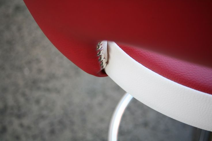 Concorde bar stool in red and white made for customer at Kendall Furniture.