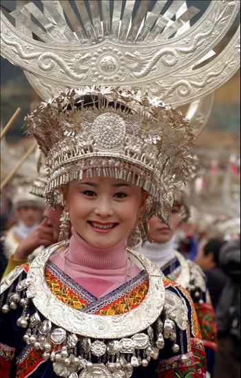 ... miao nationality dressed in traditional miao costumes celebrates miao