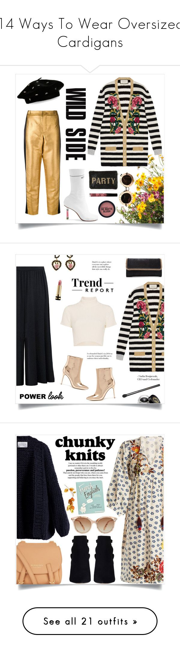 """""""14 Ways To Wear Oversized Cardigans"""" by polyvore-editorial ❤ liked on Polyvore featuring oversizedcardigans, waystowear, Grandin Road, Lanvin, Vetements, Gucci, Mary Frances Accessories, Steve Madden, Kylie Cosmetics and Forever 21"""