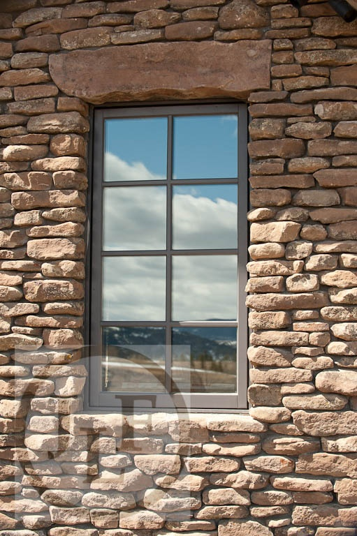 Palladium Stone Around Window : Clad window in dry stack stone wall architecture