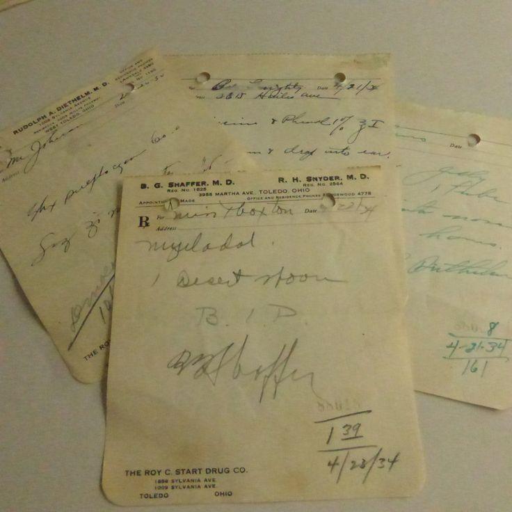 Antique Handwritten Pharmacy Scripts From 1934 E205