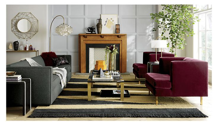 this would look amazing with the C&B sofa and chair. Brings the black together but is still warm.