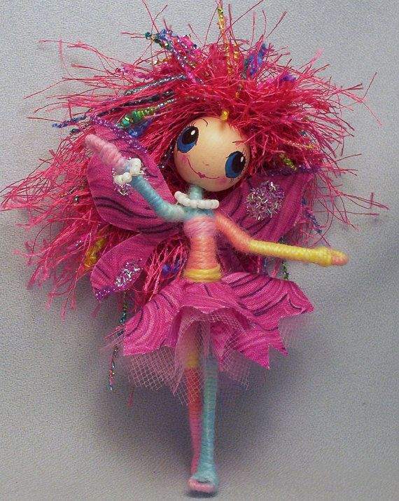 Little Fairy Girl Brightly Colored ooak Art Doll   by Rhiannon.  via Etsy.