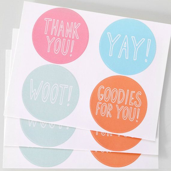 Cute Packaging Stickers. Pastel Thank You Stickers. by Julie Ann Art via Etsy