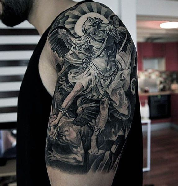 Mens Arm Guardian Angel Killing Demon Tattoo