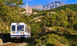 The railway between Bastia and Corte in Corsica passes through spectacular mountain scenery.