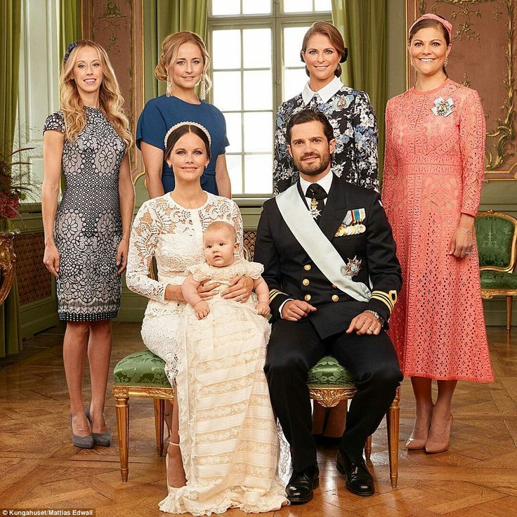 The young family are joined by (back row, left to right): Their sisters Sara Hellqvist, Lina Frejd (who is also a godmother to the young prince), Princess Madeleine of Sweden, andCrown Princess Victoria of Sweden