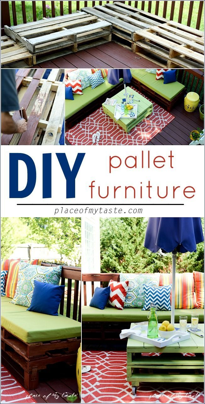 Check out how we made this great outdoor pallet furniture! So cheery and colorful, perfect for those breezy summer nights out on the deck:-)