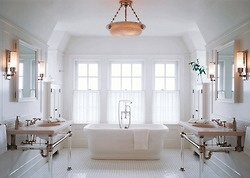 Totally stunning creamy and blush master bath. Love the two separate sinks, instead of one double sink console - the symmetry is much more pleasing. Lucite legs on the sinks give this tradition room a nice contemporary verve.Bathroom Design, Dreams Bathroom, Sinks, Bathroomdesign, White Bathroom, Bathroom Decor, Architecture Digest, Master Bathroom, White Room