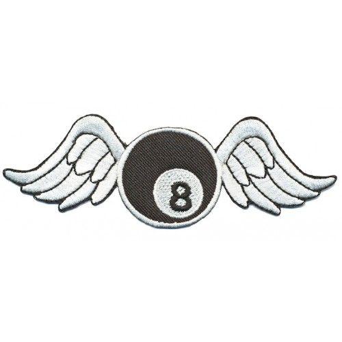 Strijkapplicatie 'bowlingbal met vleugels'