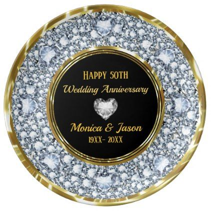 Gray Diamonds & Silver Heart 50th Anniversary Dinner Plate - glitter glamour brilliance sparkle design idea diy elegant