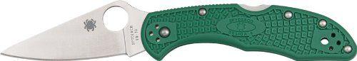 Spyderco Delica4 Lightweight FRN Flat Ground PlainEdge Knife (Green)