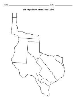 This document is a blank outline map of The Republic of Texas from 1836 to 1845. Teachers can go into this editable document and add their own directions.