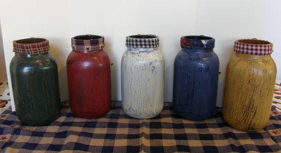Primitive Quart Jars-Crackle by HootOwlMeshCreations on Etsy
