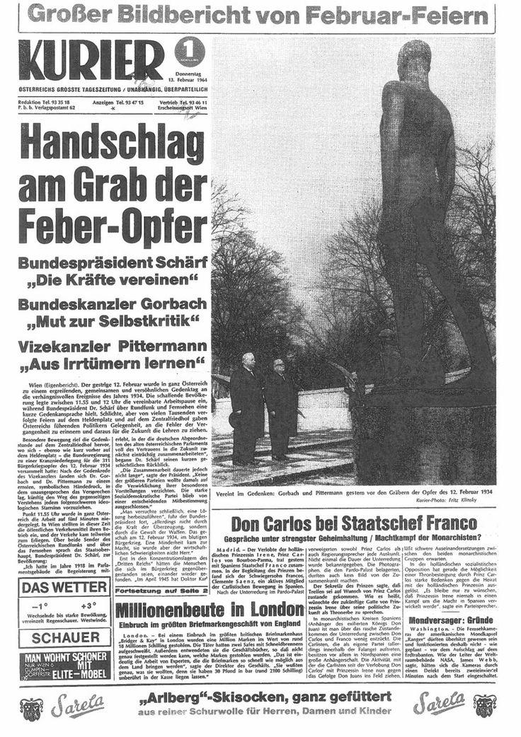 KURIER-Aufmacher 1964: Schwarz-rote Koalition ehrt gemeinsam die Opfer des Februars 1934