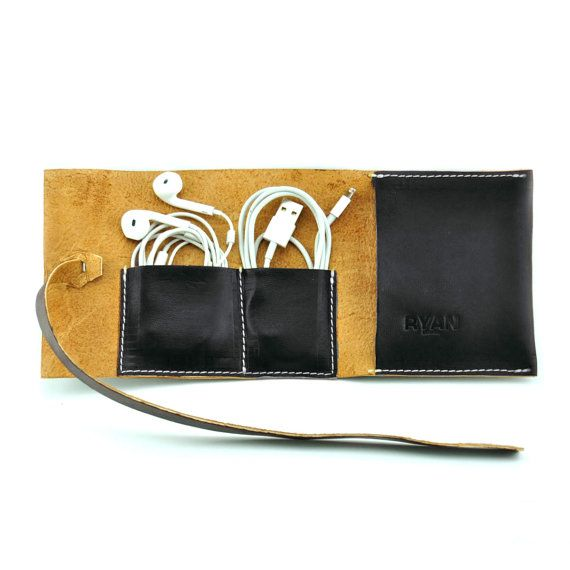 Leather cable roll  - two pockets for cable - one bigger for plugs - made of leather - fits UK, EU, US, phone chargers - size 26 cm x 12 cm ( ca.10 x