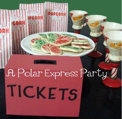A Polar Express Party! Hot chocolate, cookies, and popcorn are served; ornament making is after the movie. Such a fun idea!