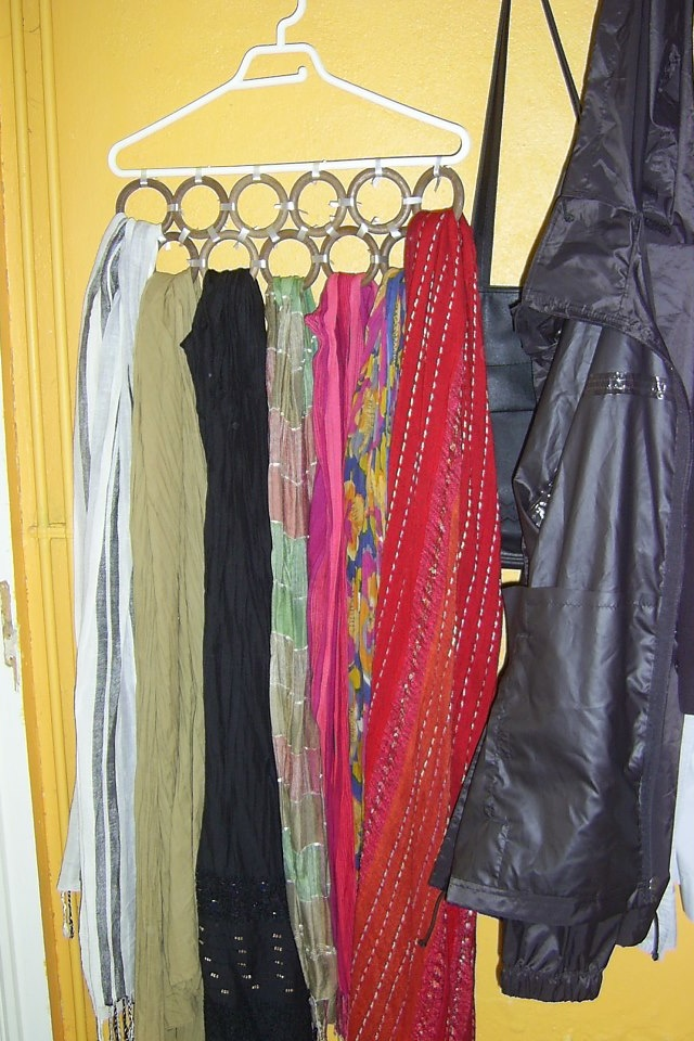 scarf storage circles can be shower curtain circles tapped