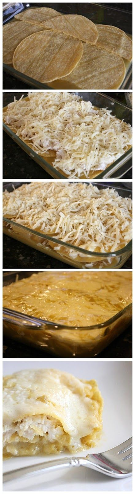 quick and easy green chile chicken enchilada casserole cooked chicken breasts shredded 8 ounces sour cream garlic salt to taste 14 corn tortillas 1