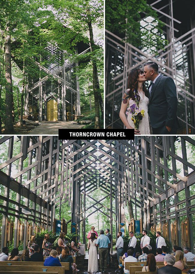 Thorncrown Chapel wedding venue in Arkansas is a modern styled, glass cathedral in the woods