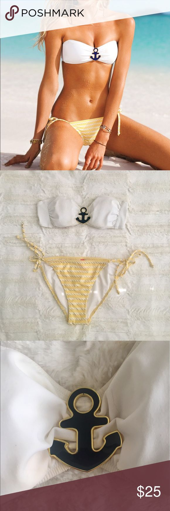 VS White Nautical Bikini Adorable VS Bikini with bandeau top and removable straps. Bottom has a cute pattern, so cute for summer! Excellent Condition, lucky if I wore it twice. Too many suits. Victoria's Secret Swim Bikinis