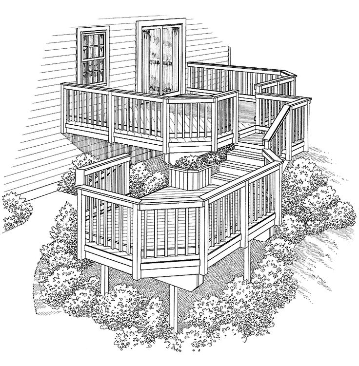 Eplans Deck Plan - Two Levels Connected by Stairs from Eplans - House Plan Code HWEPL74934