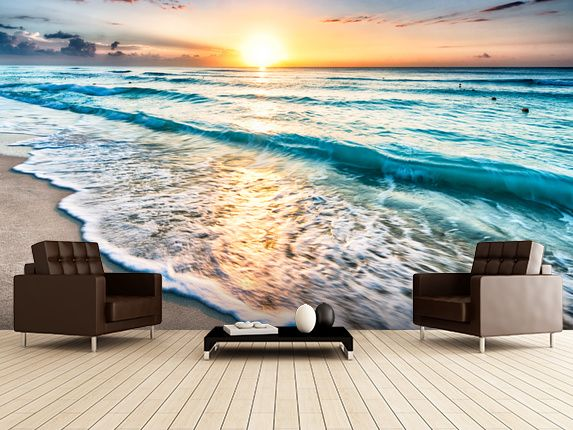 Cancun Beach Sunrise, Mexico wall mural room setting