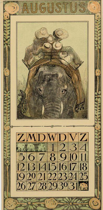 Calendar 1906 going to the zoo - Augustus // aout Eléphant Description Physique: 1 calendar, 12 leaves : col. ill. ; 48 x 22 cm. Hoytema, Theodoor van, 1863-1917 ( illustrator ) Editeur: Tresling & Co. Date Éditée: 1906