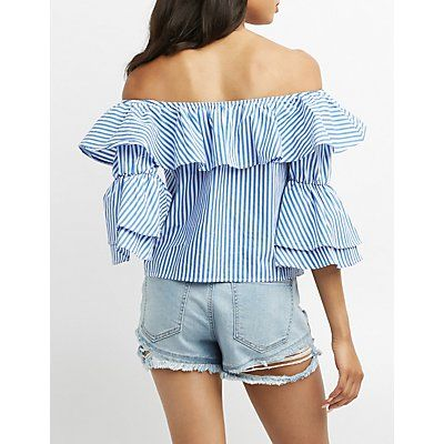 Striped Ruffle-Trim Off-The-Shoulder Top