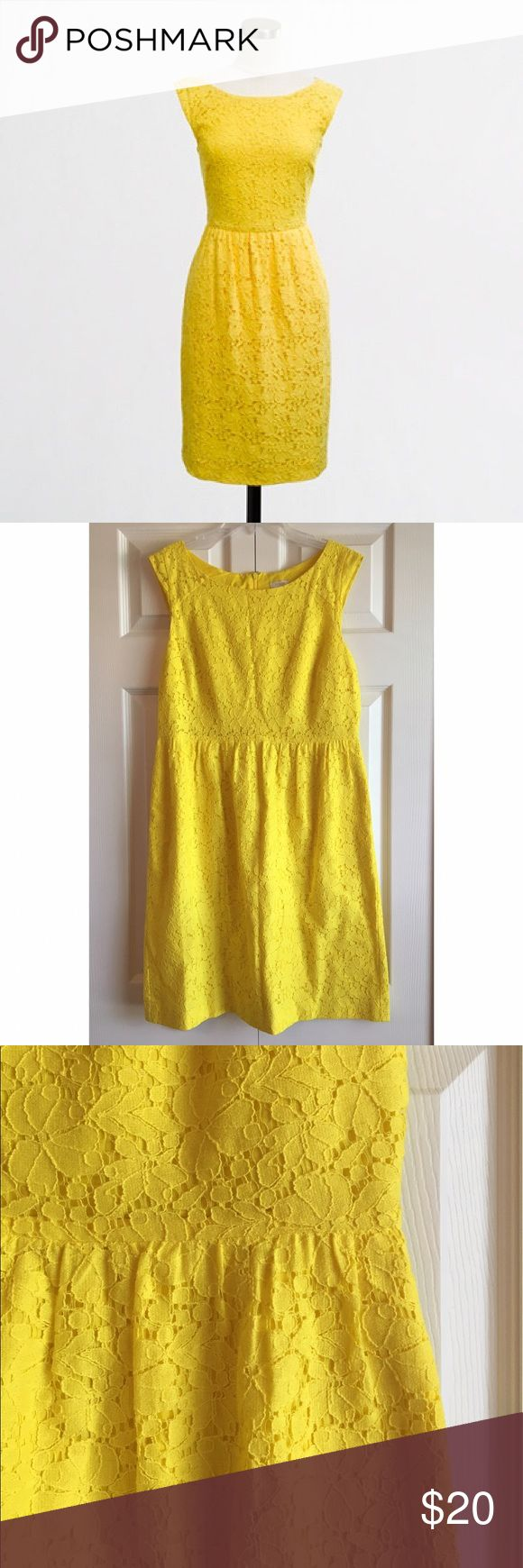 J. Crew Yellow Lace Dress Worn once • synched at natural waste • fully lined • back zipper J.Crew Factory Dresses