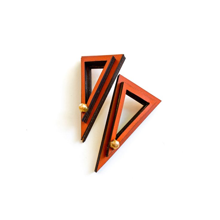 "Triangle Leather Earings by ""meet the cat"" #meetthecat #earrings #greek4chic"