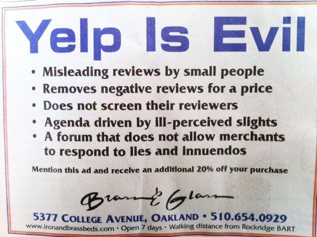 #YelpIsEvil #PhonyReviews