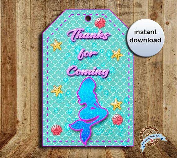 Mermaid Mermaid favor tags mermaid party mermaid favors