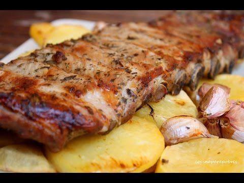 Costillas al horno con miel, limón y especia