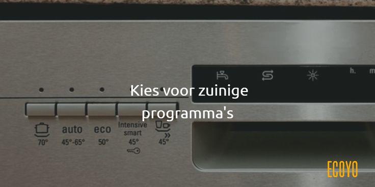 #ECOYO's tip van de dag: Kies voor zuinige programma's.  Vaatwasprogramma's die lang duren of die een hoge temperatuur gebruiken, hebben vaak weinig zin. Als uw machine over de mogelijkheid beschikt, gebruikt u best 'ECO'-programma's of programma's met een lage temperatuur.