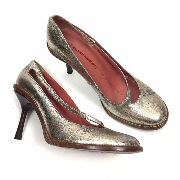 "Eileen Shields Metallic Strappy Heels 8.5 Unique metallic shoe looks gold and silver! Straps over the foot to buckle at side. 3"" heel. Quality made in Italy. Don't miss out. Eileen Shields Shoes Heels"