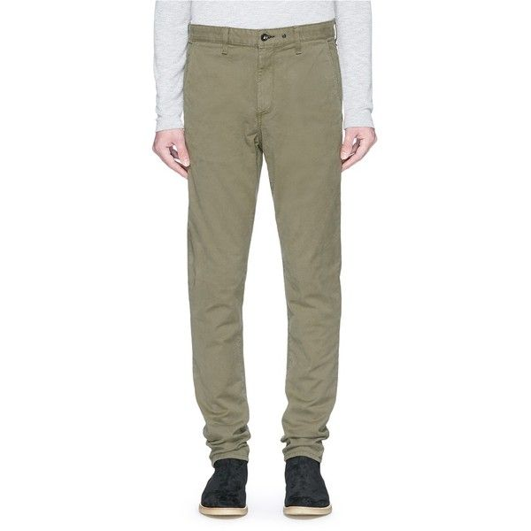Rag & Bone 'Fit 2' cotton slim fit chinos (13.310 RUB) ❤ liked on Polyvore featuring men's fashion, men's clothing, men's pants, men's casual pants, green, mens cotton pants, mens chinos pants, mens green pants, mens slim fit chino pants and mens chino pants
