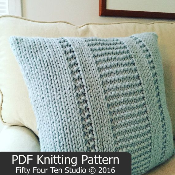 Pillow KNITTING PATTERN / The Parkway Pillow / Cushion / Quick & Easy Knit / Super Bulky Yarn / Wedding / Mother's Day Gift Idea