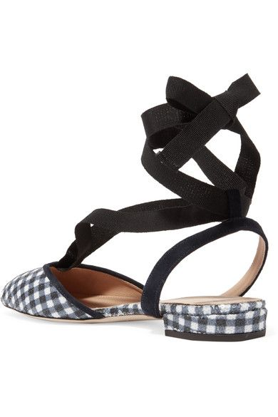 J.Crew - Foster Sequined Gingham Canvas Ballet Flats - Navy - US10.5