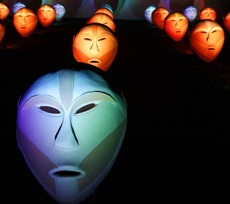 Luci d'Artista a #Torino: Bwindi Light Masks, Richi Ferrero. #lucidartista