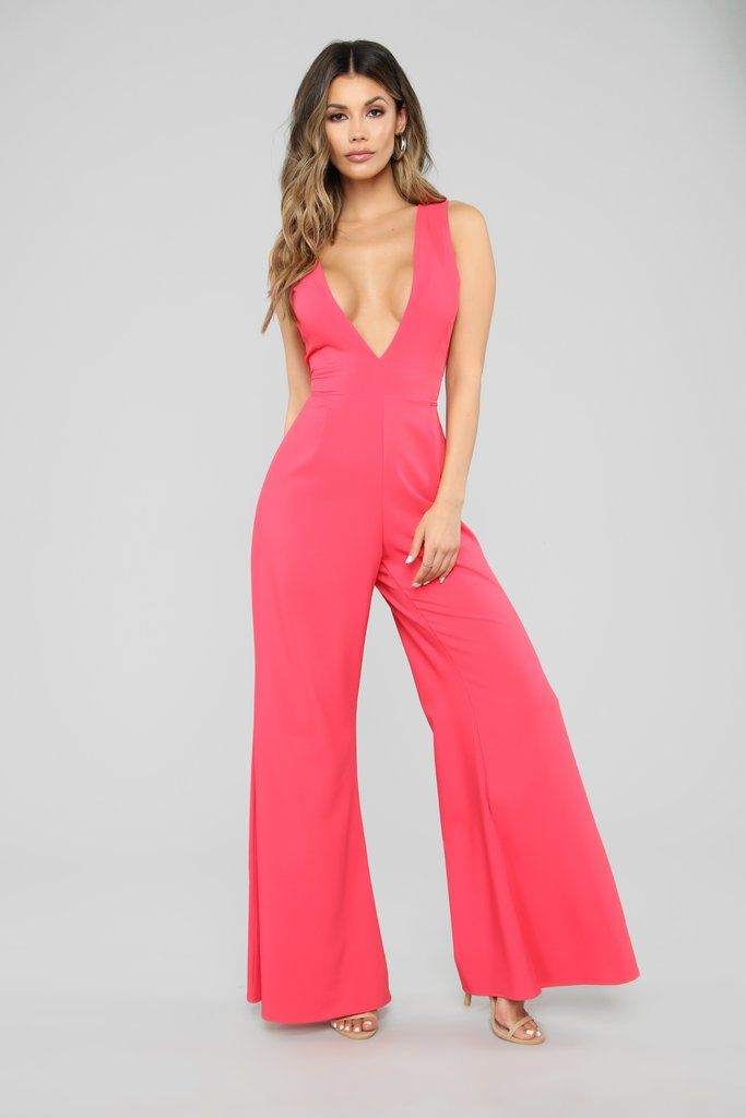WOMENS DEEP PLUNGE V NECK CORAL SLEEVELESS BELTED TIE WAIST PARTY JUMPSUIT UK