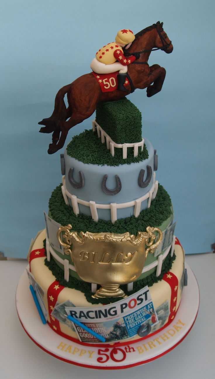 Horse racing cake - the cake was frosted with buttercream and the decorations were made out of fondant.