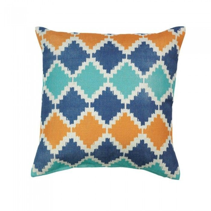 This Southwestern pattern got a modern makeover with contemporary colors to make a fantastic throw pillow for your room. Blue, orange and teal mix and mingle on a neutral cover. Machine wash cold; do not bleach; do not tumble dry; cool iron. Dry clean safe.