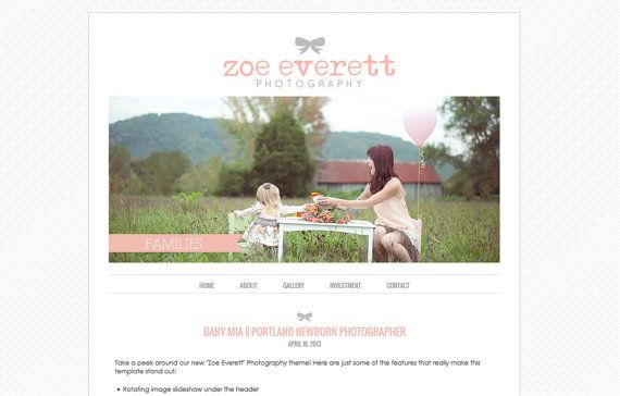 Blogger Template Premade Blog Theme For Photography With