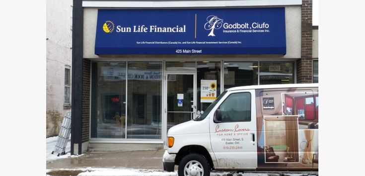 Stationary awning with graphics for Sunlife
