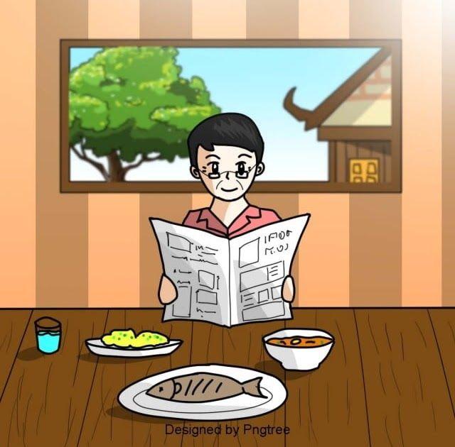 Terbagus 30 Gambar Kartun Membaca Koran Tangan Dicat Lelaki Meja Makanan Membaca Koran Unsur Unsur Download Pria Geometris Kar Kartun Gambar Kartun Gambar