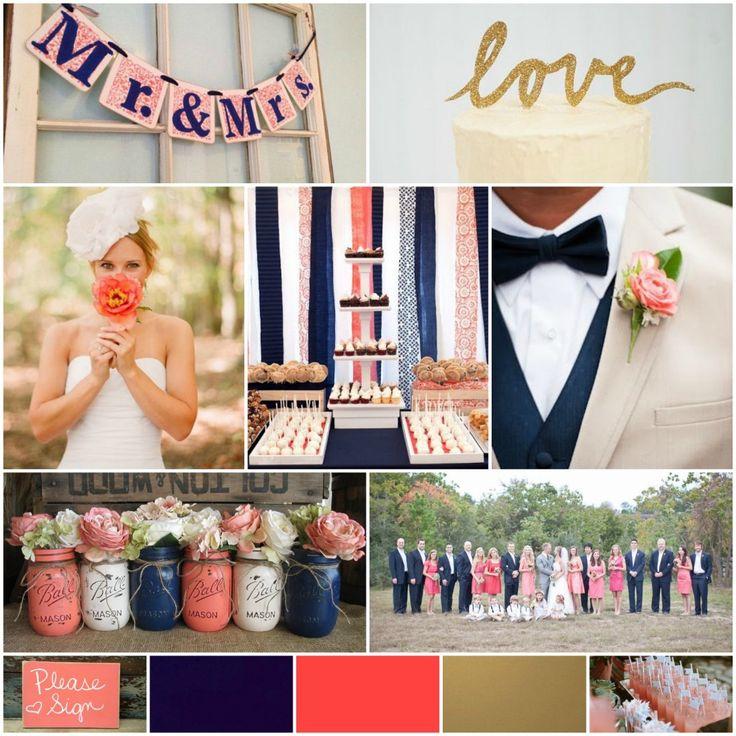 Wedding colors, navy gold coral color scheme
